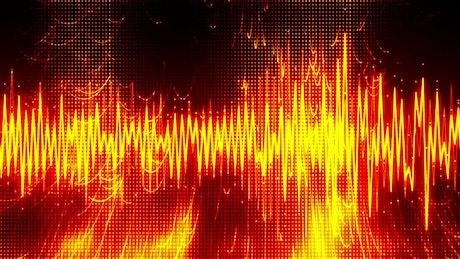Intense red music waveform