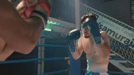Intense semi-pro boxing match