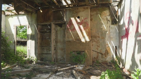 Interior of a destroyed and deteriorated abandoned place