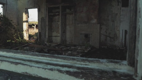Interior of burnt out house