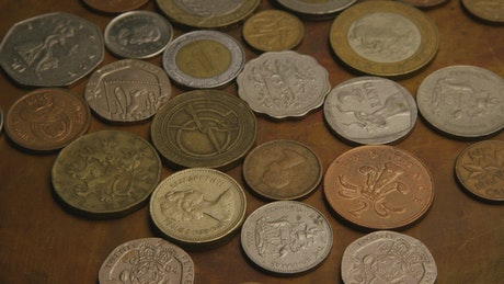 International coins on the table