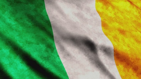 Ireland 3D render flag while waving slowly