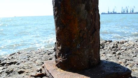 Iron column at a port