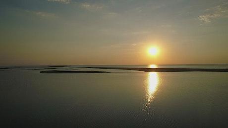Islands on a beautiful lake at sunset