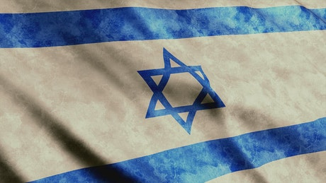 Israel flag waving, 3D render