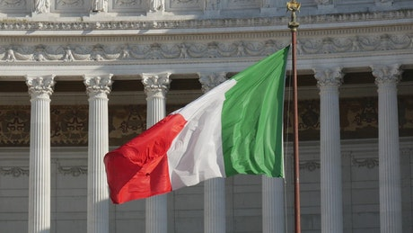Italian flag waving in Rome