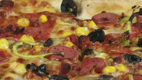 Italian pizza texture, close up
