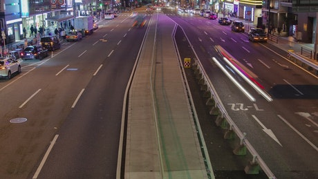 Japanese road with fast traffic at night