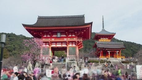 Japanese temple entrance time lapse