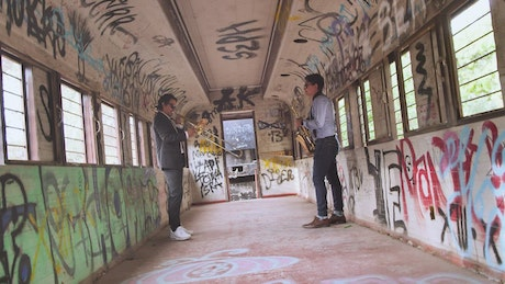 Jazz musicians on an abandoned train