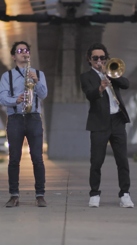 Jazz musicians playing in the street