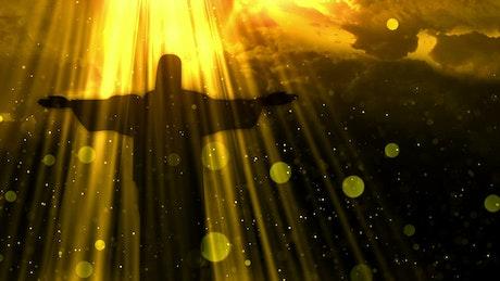 Jesus silhouette opening arms