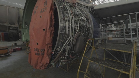Jet engine open and under repair