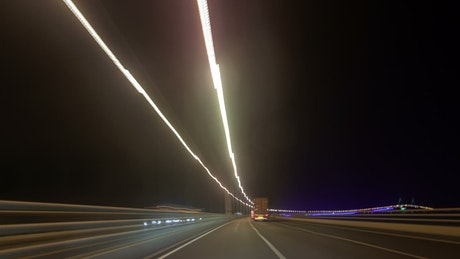 Journey in fast motion through the road