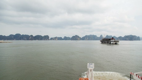 Journey sailing through islands Vietnam