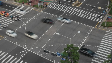 Junction with busy traffic