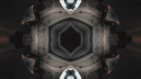 Kaleidoscope shot of dark textures