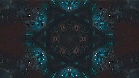 Kaleidoscope shot of night city lights