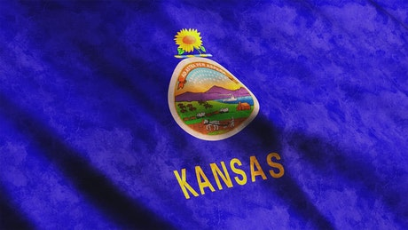 Kansas State flag waving in the wind