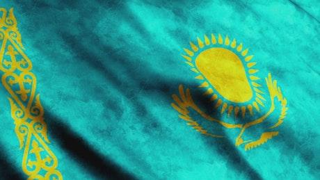 Kazakhstan flag waving slow