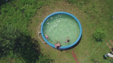 Kids cooling off on a hot day