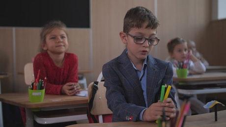 Kids focusing in class