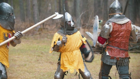 Knights with swords battling