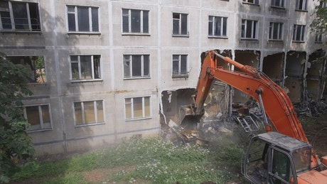 Knocking down an old building