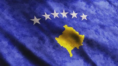 Kosovo faded 3D flag