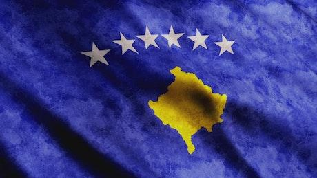 Kosovo worn 3D flag, full screen