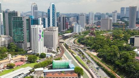 Kuala Lumpur cityscape and traffic