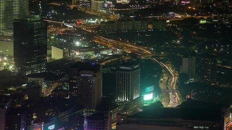Kuala Lumpur cityscape at night time lapse