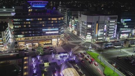Kyoto crossroad at night