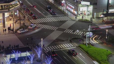 Kyoto crossroad with traffic time lapse