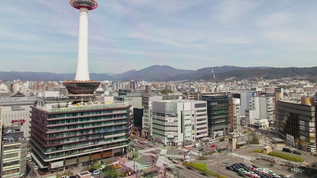 Kyoto tower and the city scape