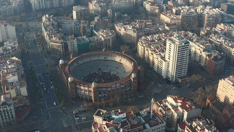 La Monumental in Barcelona, view from the air