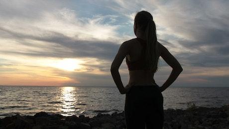 Lady enjoying the sunset