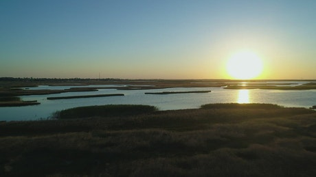 Lagoons in nature during sunset