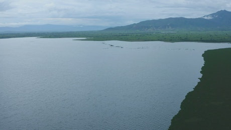 Lake in a huge plain seen from the air