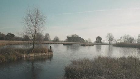 Lake in a winter landscape