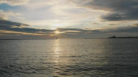 Lake Michigan at sunset, aerial shot