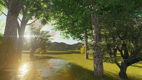 Lake on a sunny park near the mountains