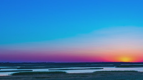Landscape at sunrise near a river