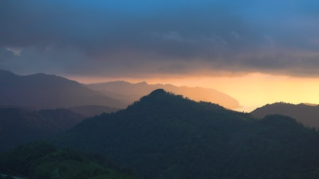 Landscape of a sunrise in the mountain forest