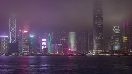 Landscape of skyscrapers in Hong Kong at night