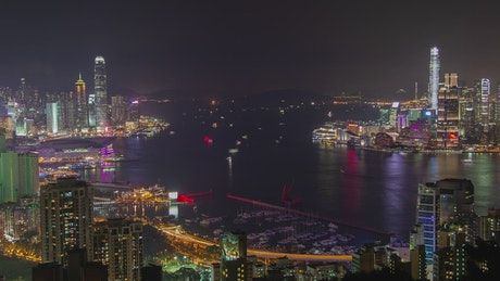 Landscape of the city of Hong Kong at night