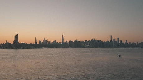 Landscape of the NYC skyline seen from the sea