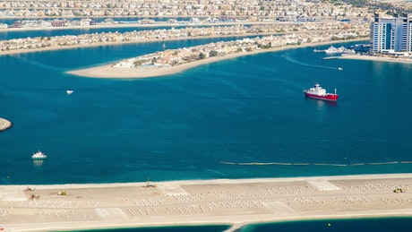 Landscape of the Palm Jumeirah in Dubai