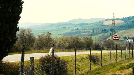 Landscape of the vineyards in the Tuscany area
