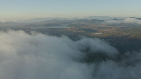 Landscape seen from above covered by mist